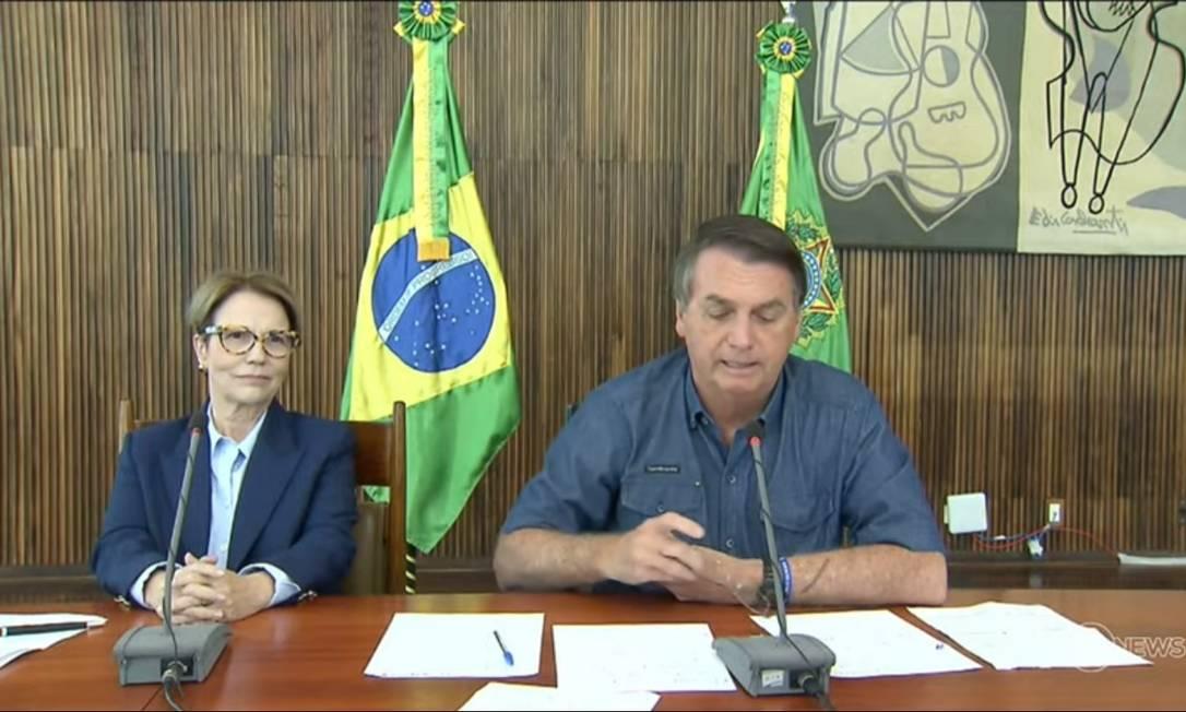 Bolsonaro faz pronunciamento por vídeo para a ExpoZebu, em 1/5/2021. Foto: Reprodução