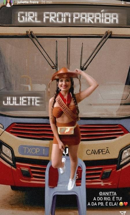A equipe de Juliette também surfou na brincadeira Foto: Reprodução
