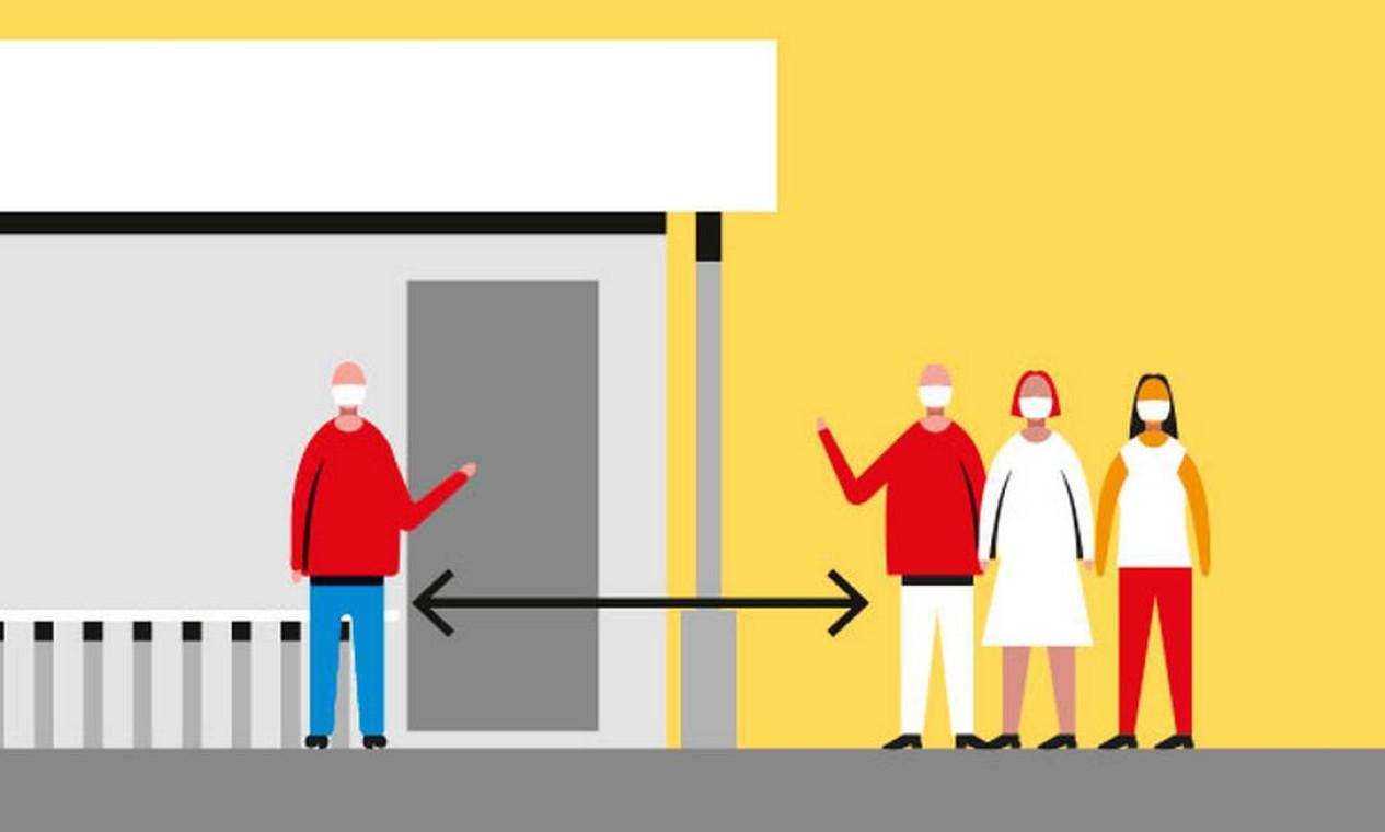 Aglomeração. Dentro ou fora do estabelecimento, é dever da empresa manter espaço de 1,5m entre clientes. Filas devem ter marcação de espaço e controle de funcionário Foto: Renato Carvalho