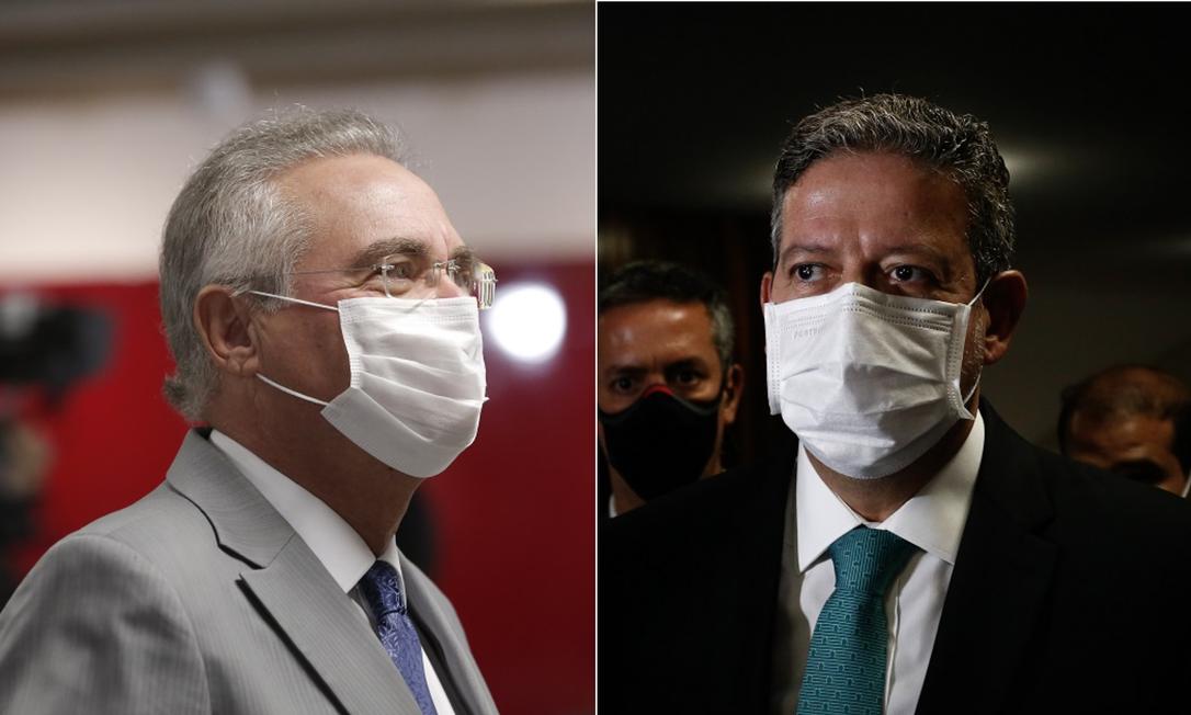 O senador Renan Calheiros e o presidente da Câmara, Arthur Lira Foto: Arquivo O GLOBO