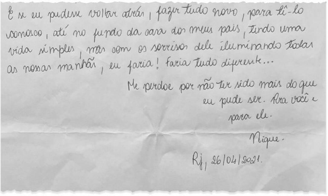 Mãe de Henry divulga carta pedindo perdão ao pai do menino, morto no início de março Foto: Arquivo pessoal