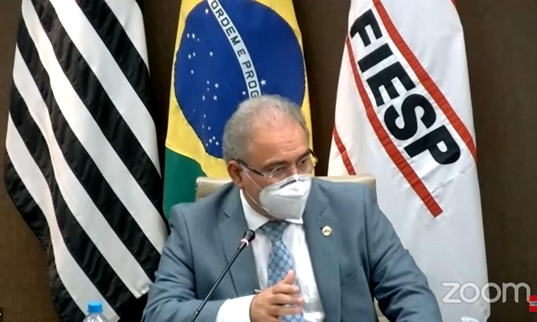 O ministro da Saúde, Marcelo Queiroga, em evento na sede da Fiesp Foto: Reprodução