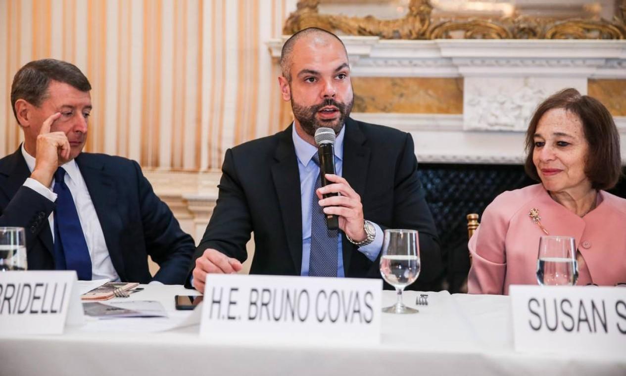 Bruno Covas, já no cargo de prefeito, durante Evento São Paulo Investment Day no Conselho das Américas, em Nova York nos Estados Unidos Foto: Brazil Photo Press / Agência O Globo - 15/05/2018
