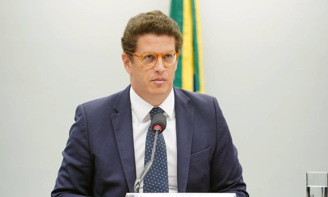 O ministro do Meio Ambiente, Ricardo Salles, em audiência na Câmara Foto: Pablo Valadares/Câmara dos Deputados
