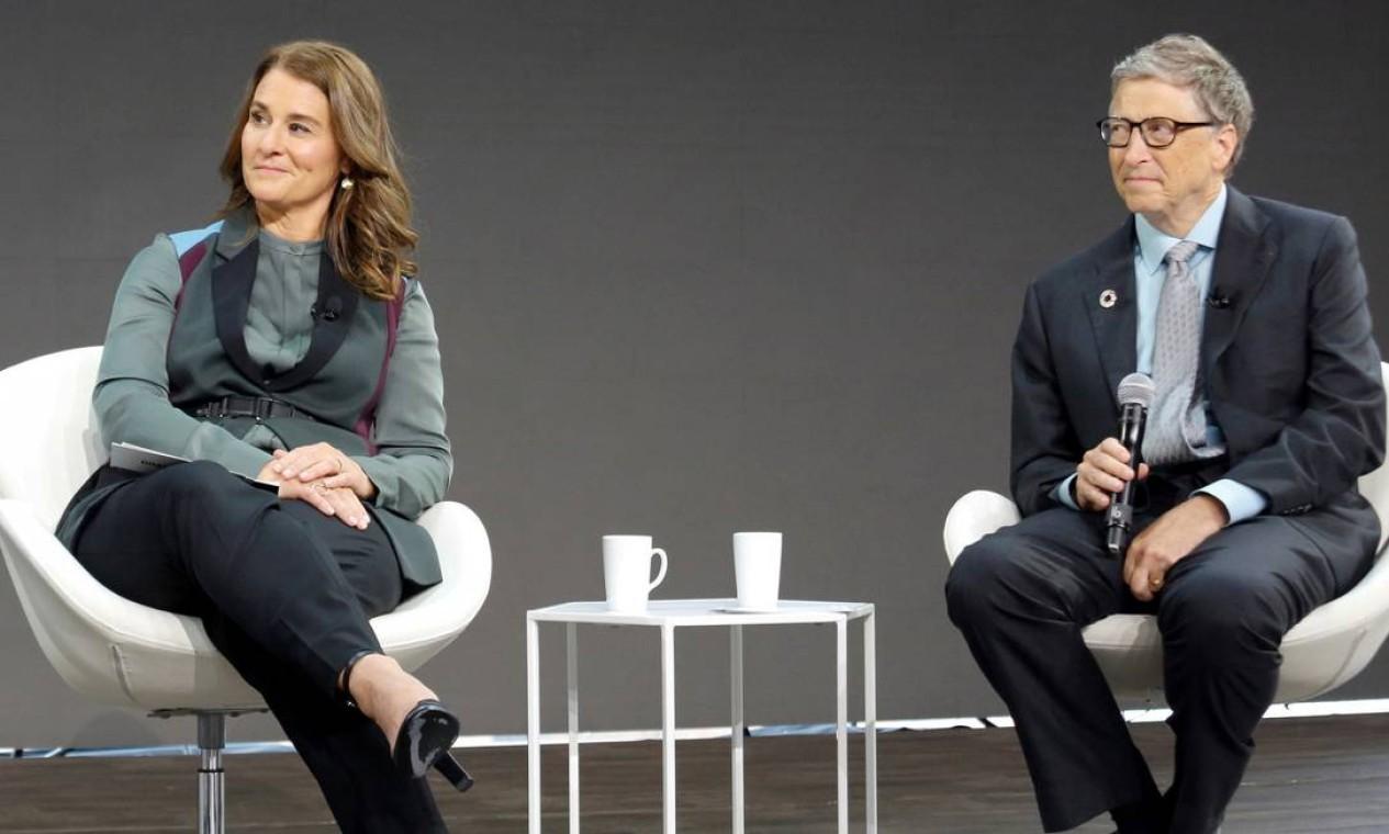 Bill Gates e Melinda Gates durante evento da Fundação Melinda Gates, em Manhattan, Nova York Foto: ELIZABETH SHAFIROFF / REUTERS - 20/09/2017
