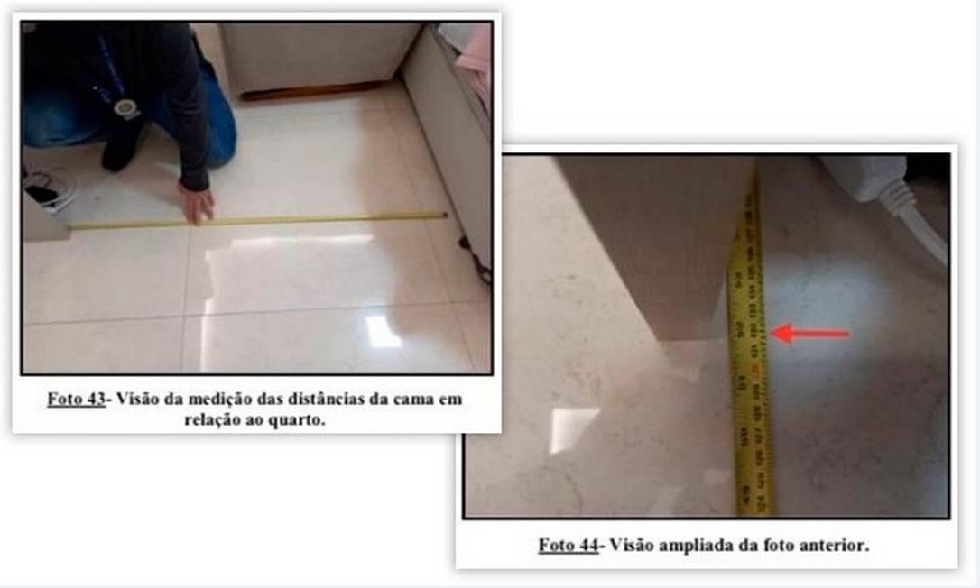 Medição feita pelos peritos durante a reprodução simulada Foto: Reprodução