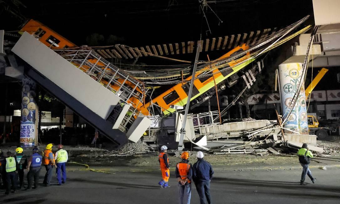 O incidente ocorreu na Linha 12 do metrô, entre as estações de Olivos e Tezonco, por volta de 10:25, no horário local (0h25 de terça, horário do Brasil) Foto: CARLOS JASSO / REUTERS