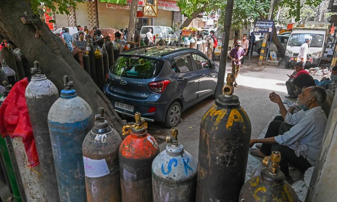 Com explosão de casos Nova Delhi em 4 de maio de 2021, quando o número total de casos da Covid na Índia ultrapassou 20 milhões. (Foto de Prakash SINGH / AFP) Foto: PRAKASH SINGH / AFP