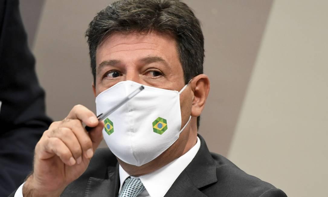 Ex-ministro da Saúde Luiz Henrique Mandetta presta depoimento na CPI da Covid Foto: Jefferson Rudy / Senado