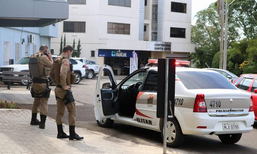 Hospital de Pinhalzinho precisou de reforço no policiamento Foto: Gilmar Bortese