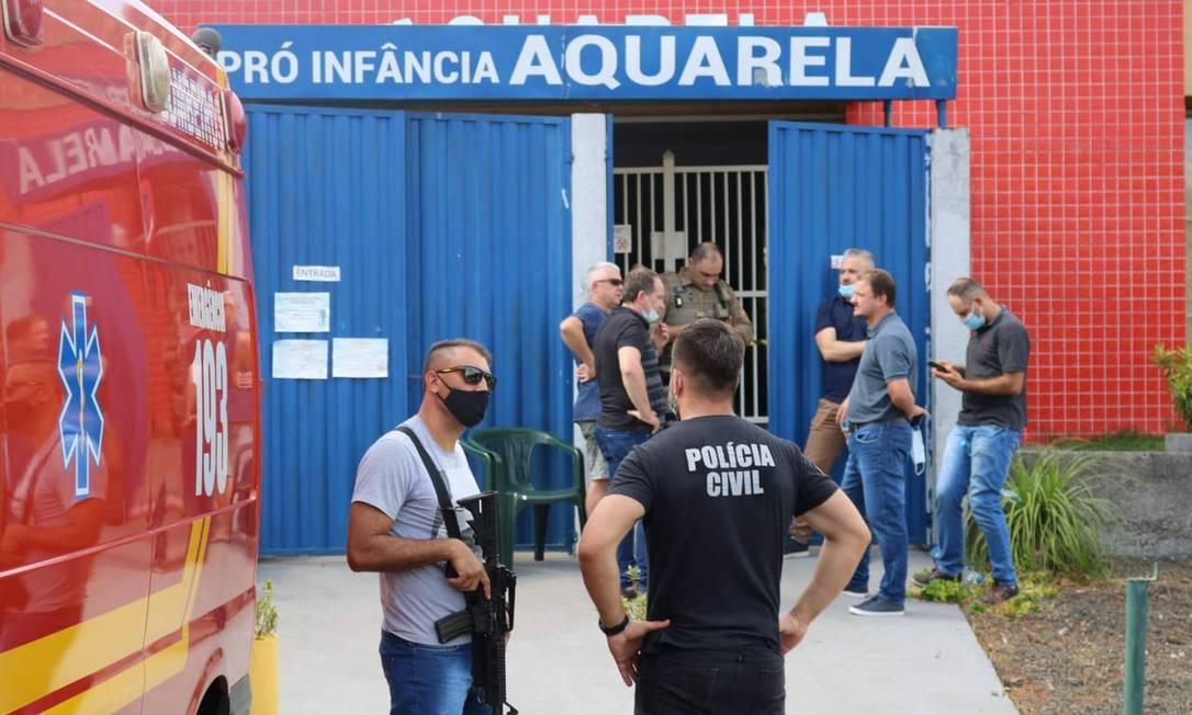 Ataque em escola infantil de Santa Catrina: três crianças e duas professoras morreram Foto: Felipe Eduardo Zamboni