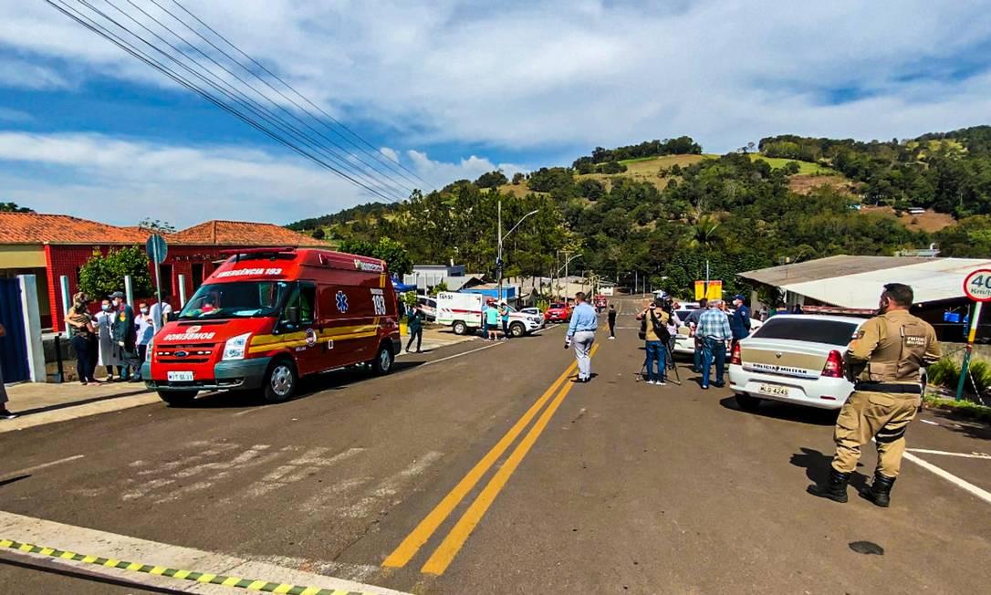 Ataque em creche de Saudades (SC) matou três bebês e duas mulheres Foto: Willian Ricardo/iShoot / Agência O Globo