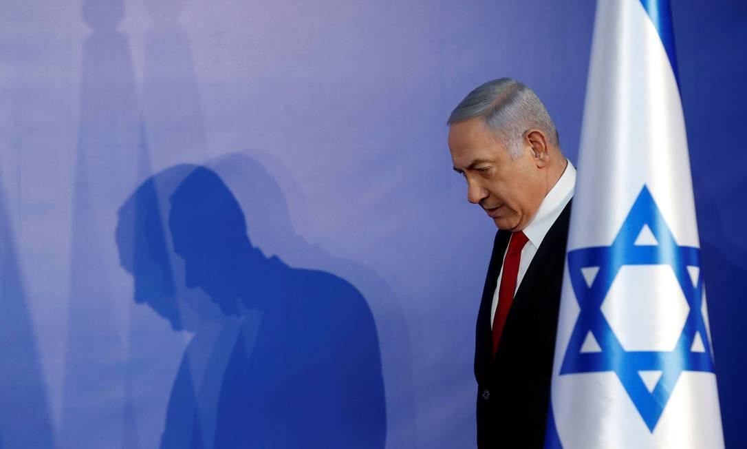 Benjamin Netanyahu, em Jerusalém, em fevereiro de 2019 Foto: RONEN ZVULUN / Reuters
