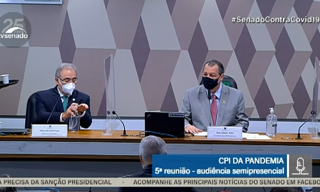 Ministro da Saúde Marcelo Queiroga, durante depoimentona CPI da Covid, no Senado Foto: Reprodução