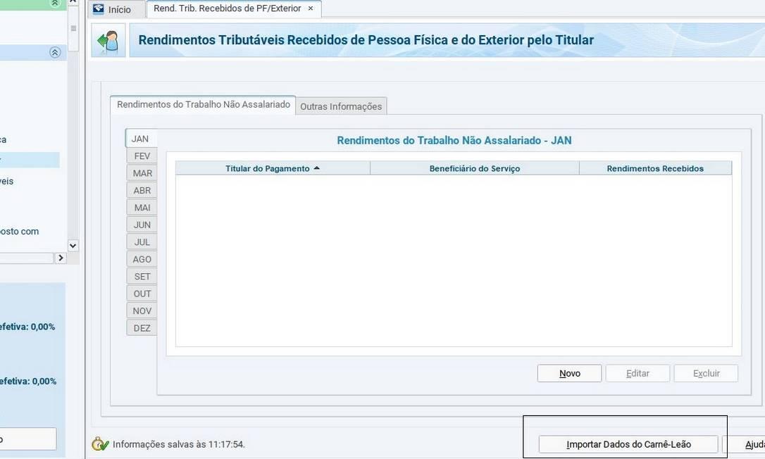 Como importar dados do Carnê-Leão 2020 para a DIRPF 2021 Foto: Reprodução