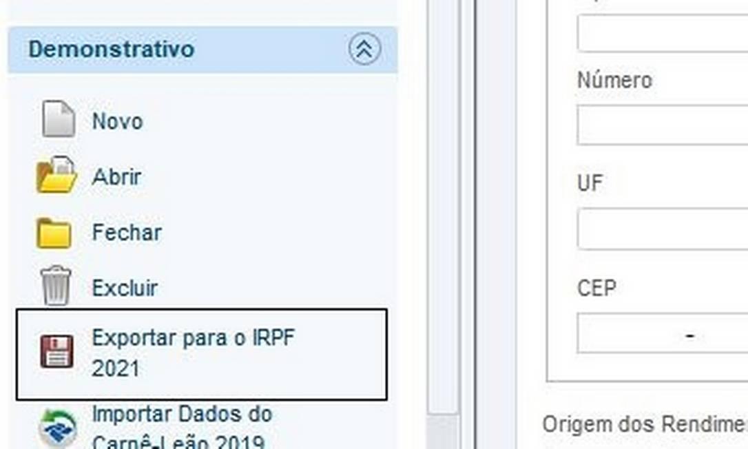 Como exportar dados do Carnê-Leão 2020 Foto: Reprodução