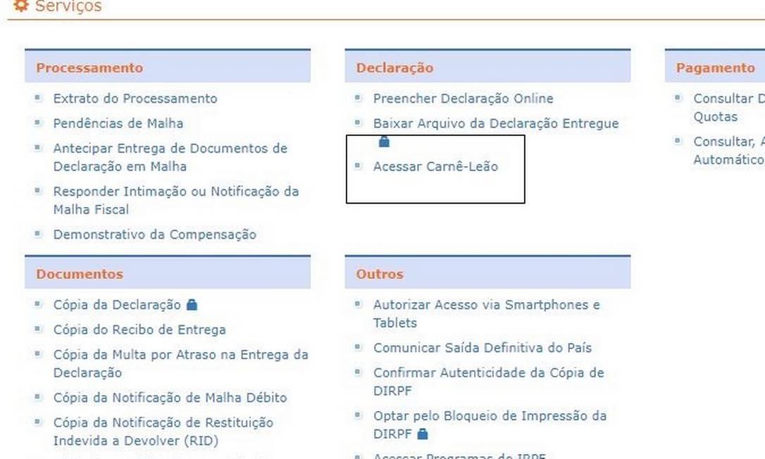 Como acessar Carnê-Leão 2021 Foto: Reprodução