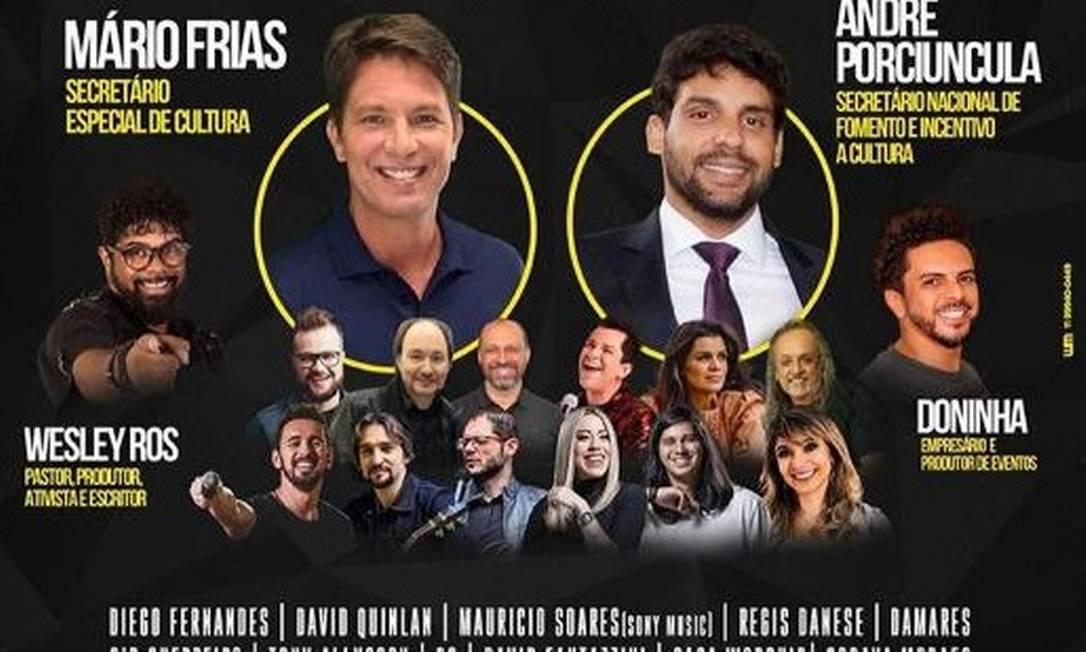 Imagem de divulgação da live com Mario Frias e produtores da área da cultura cristã Foto: Reprodução