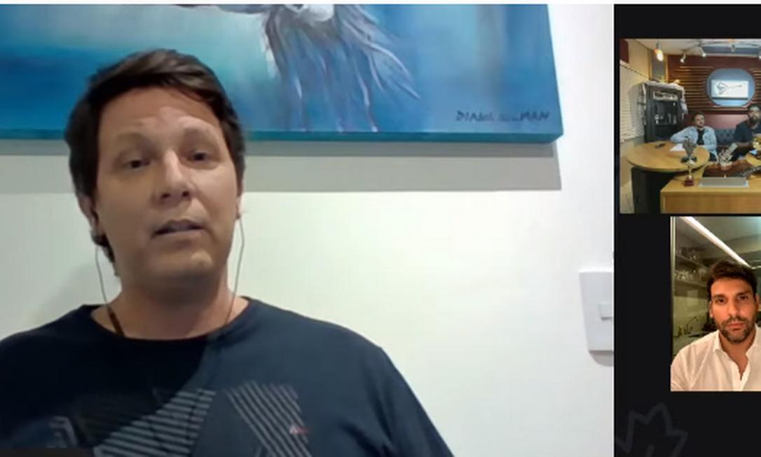 Mario Frias, Porciúncula, Doninha e Wesley Ros na live: 'cristofobia' Foto: Reprodução