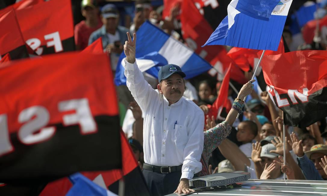 Daniel Ortega, em 2018, durante 39º aniversário da Revolução Sandinista; oposição teme que, em 2021, presidente seja eleito pela quarta vez consecutiva Foto: MARVIN RECINOS / AFP