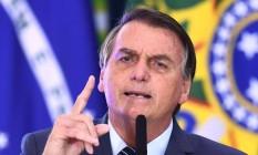 O presidente Jair Bolsonaro participa de cerimônia no Palácio do Planalto Foto: Evaristo de Sá/AFP/05-05-2021