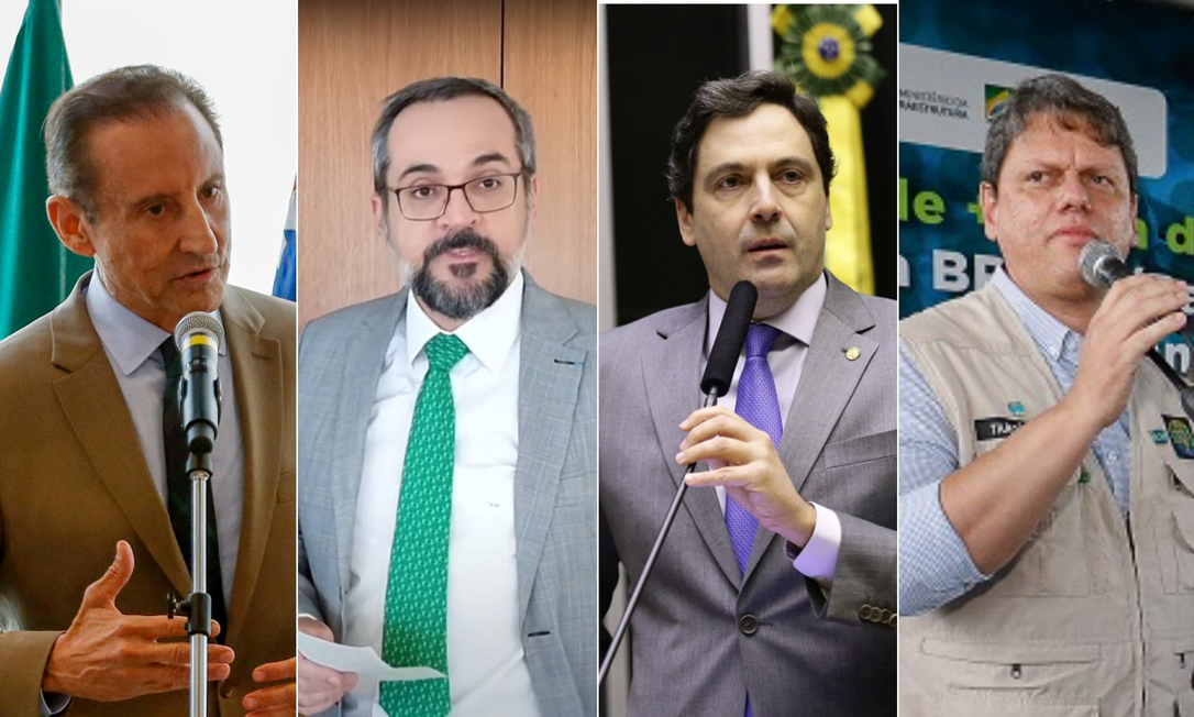 O empresário Paulo Skaf (MDB), o deputado Luiz Philippe de Orleans e Bragança (PSL) e o ex-ministro Abraham Weintraub (sem partido) tentam se cacifar para serem candidatos de Bolsonaro em SP Foto: Arquivo O GLOBO