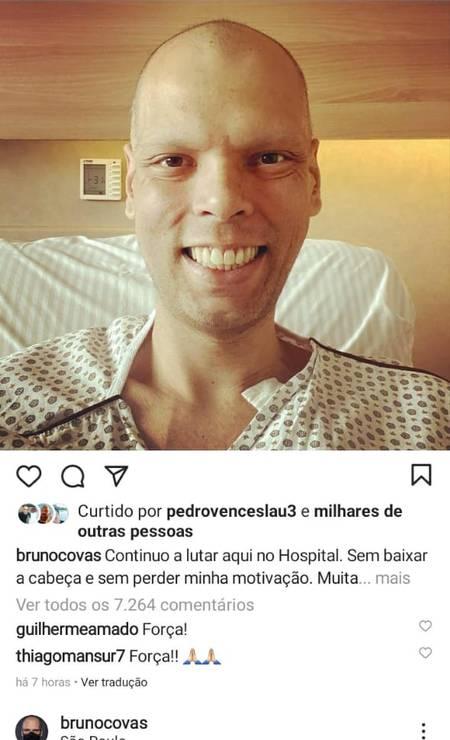 Dias antes de morrer, o prefeito postou uma foto no hospital Foto: Reprodução