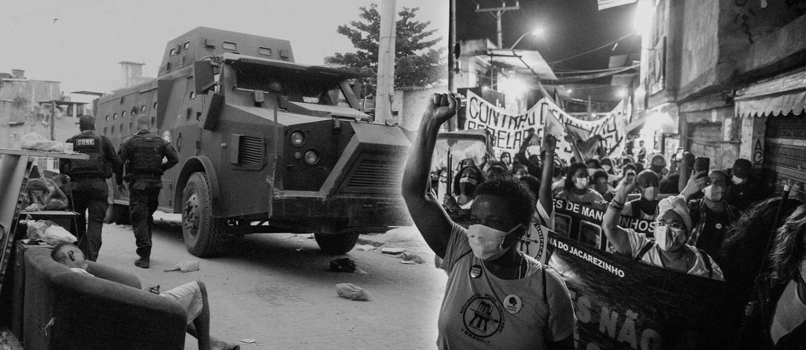 Foto: À esquerda, caveirão circula pelo Jacarezinho durante operação de quinta-feira passada. À direita, protesto que ocorreu após as mortes na comunidade