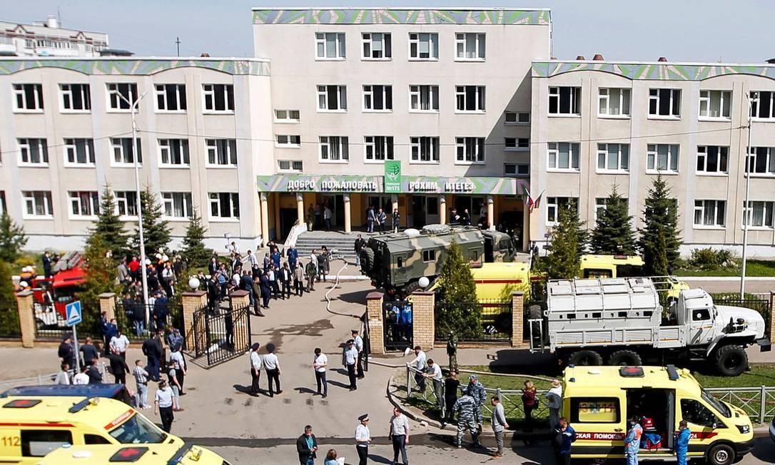 Ataque a escola 175 em Kazan, na Rússia, deixa mortos e feridos Foto: ROMAN KRUCHININ / AFP