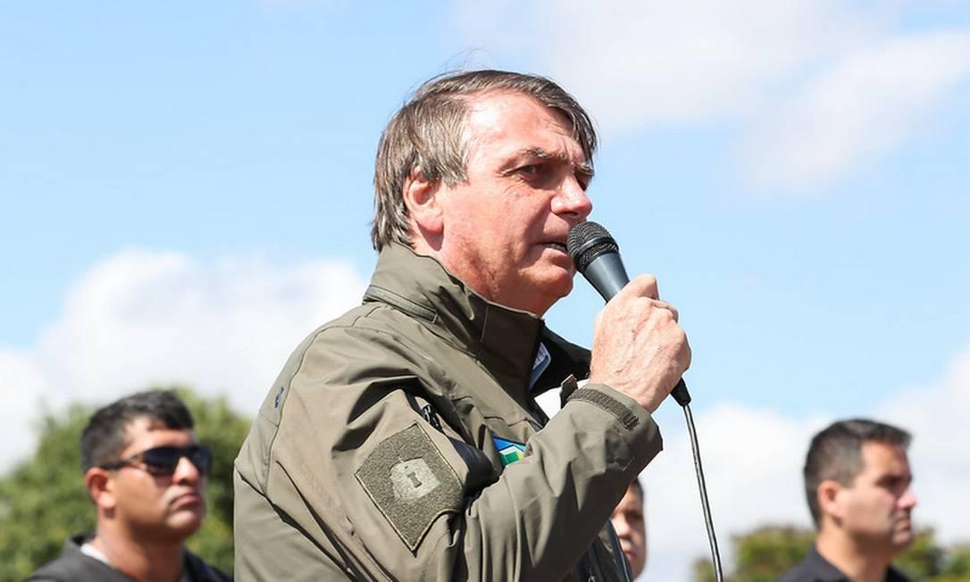 O presidente Jair Bolsonaro discursa durante encontro com motoqueiros Foto: Marcos Corrêa/Presidência/09-05-2021