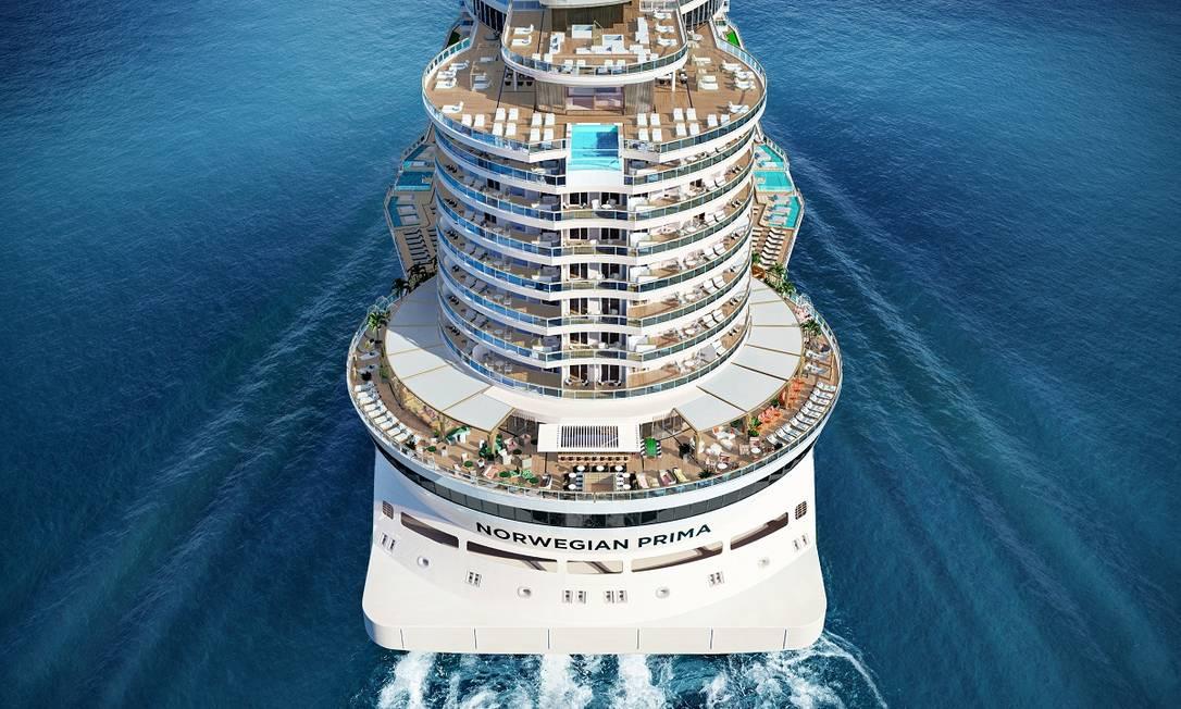 Projeção mostra como será o Ocean Boulevard, área ao ar livre que circunda o Norwegian Prima, futuro navio da Norwegian Cruise Line Foto: Divulgação