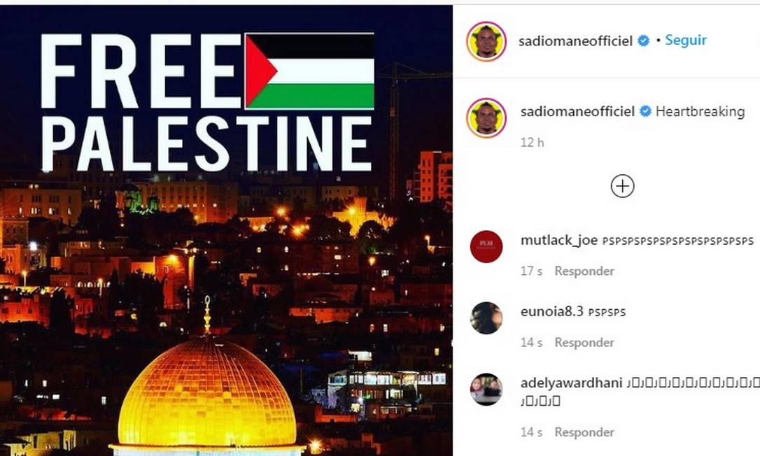Sadio Mané, camisa 10 do Liverpool, expressou seu apoio à causa palestina Foto: Reprodução