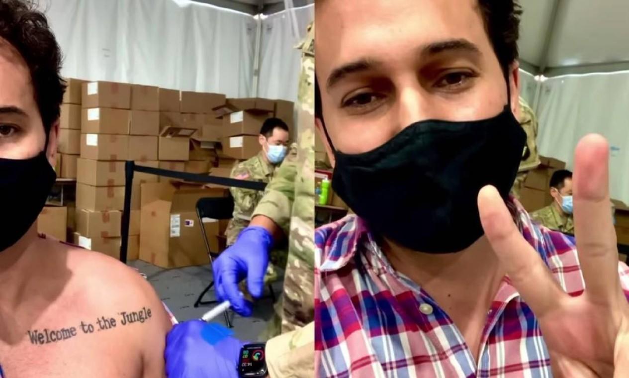 O ator, cineasta e empresário Rafael Almeida, 31, também foi vacinado nos EUA. Foto: Reprodução do Instagram
