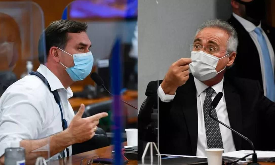 Senadores Flávio Bolsonaro e Renan Calheiros Foto: Marcos Oliveira e Leopoldo Silva/Agência Senado