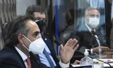 O gerente-geral da Pfizer na América Latina, Carlos Murillo, presta depoimento na CPI da Covid Foto: Edilson Rodrigues/Agência Senad