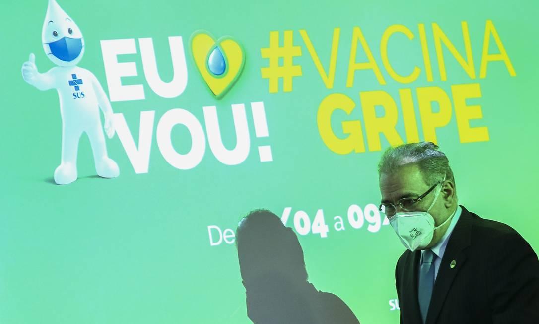 O ministro da Saúde, Marcelo Queiroga, durante o lançamento da Campanha Nacional de Vacinação contra a gripe Foto: Marcelo Camargo / Agência Brasil
