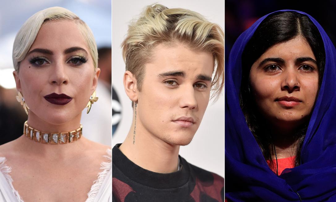 Lady Gaga, Justin Bieber e Malala Yousafzai: convidados de 'Friends' Foto: AFP (Gaga e Biber) e Edilson Dantas (Malala)