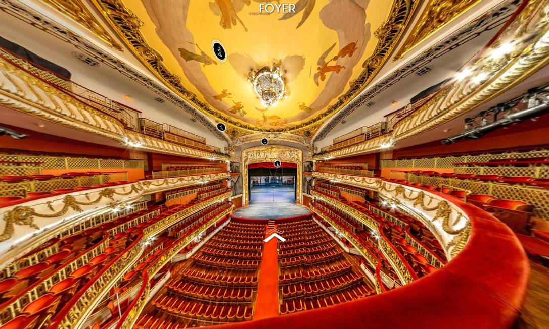 Sala de Espetáculos do Theatro Municipal de São Paulo em imagem retirada da visita virtual pelo prédio Foto: Reprodução