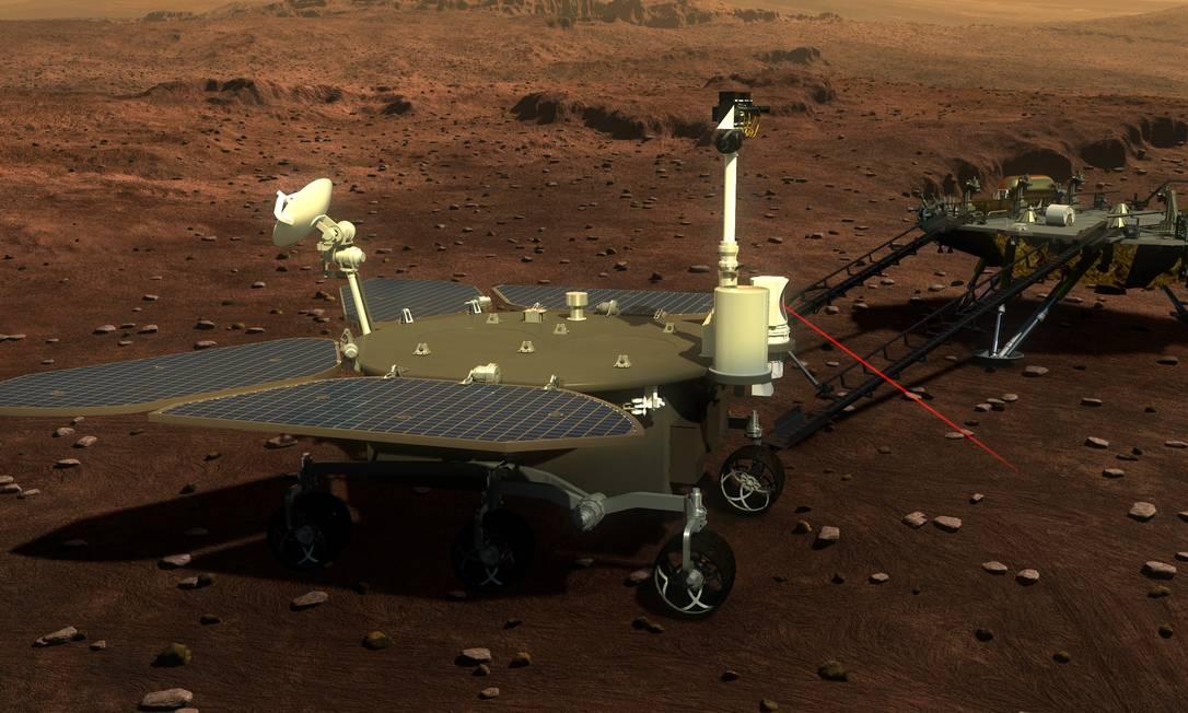 Ilustração da mídia estatal chinesa divulgando chegada de sonda em Marte Foto: Reprodução / China Science