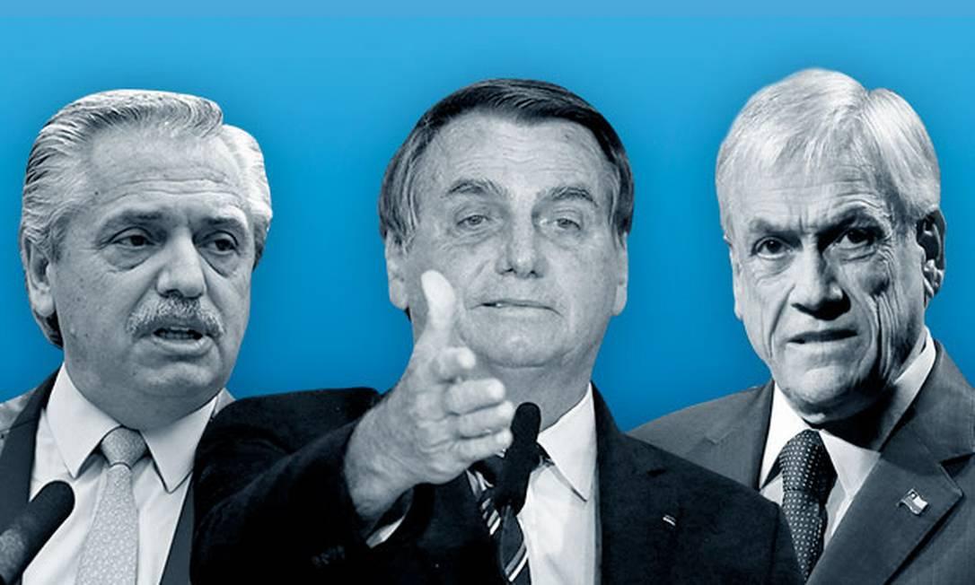 Os presidentes da Argentina, Alberto Fernández, do Brasil, Jair Bolsonaro, e do Chile, Sebastián Piñera Foto: Arte / O GLOBO