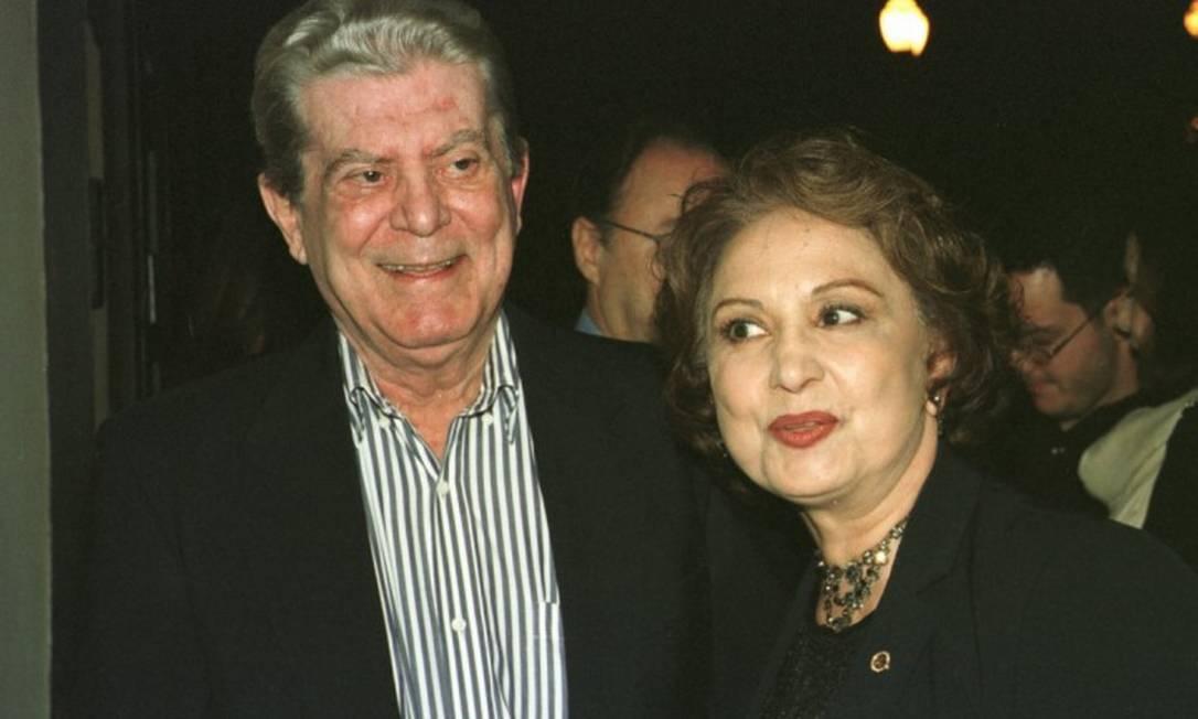 """Eva e Carlos Zara, em 2002, no lançamento da novela """"Esperança', na qual ela formava um casal com o ator Raul Cortez Foto: Daniel Pera/Diário de S.Paulo / O Globo"""