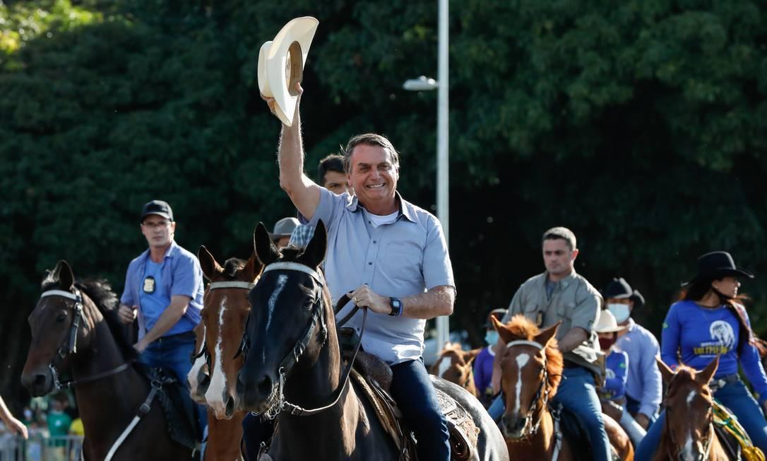 O presidente Jair Bolsonaro participa de manifestação dem Brasília Foto: Alan Santos/Presidência/15-05-2021