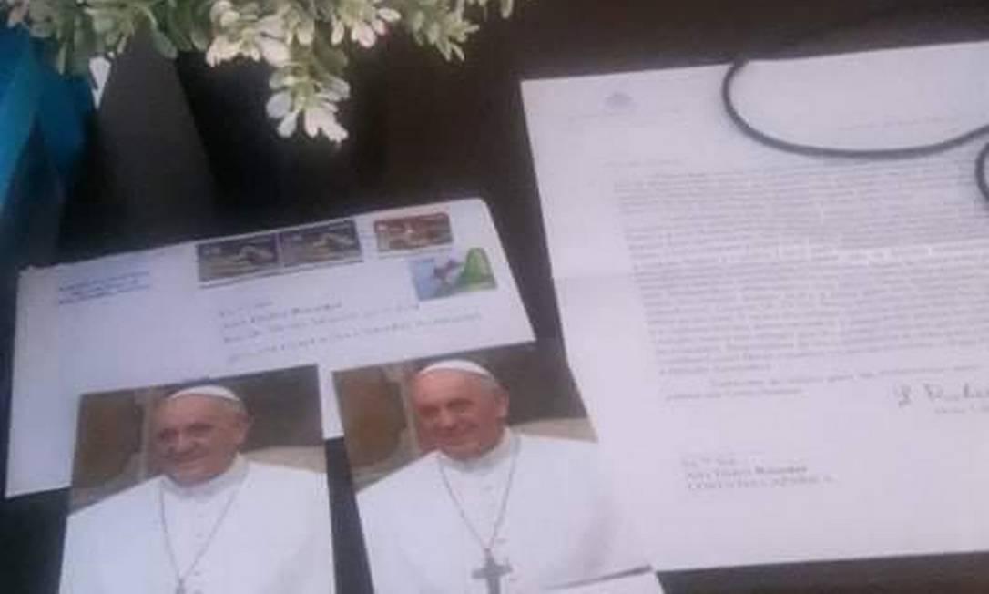 O material enviado pelo Papa Foto: Arquivo pessoal