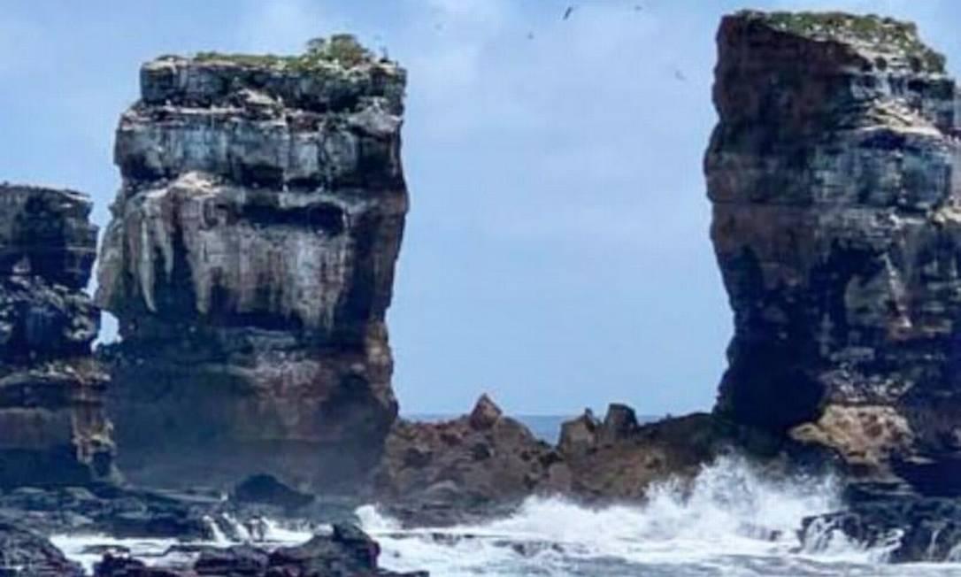 Arco de Darwin, em Galápagos, desmoronou devido à erosão Foto: Facebook/Ministerio del Ambiente y Agua de Ecuador