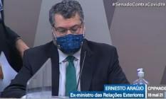 O ex-ministro de Relações Exteriores Ernesto Araújo em depoimento à CPI da Covid Foto: Reprodução