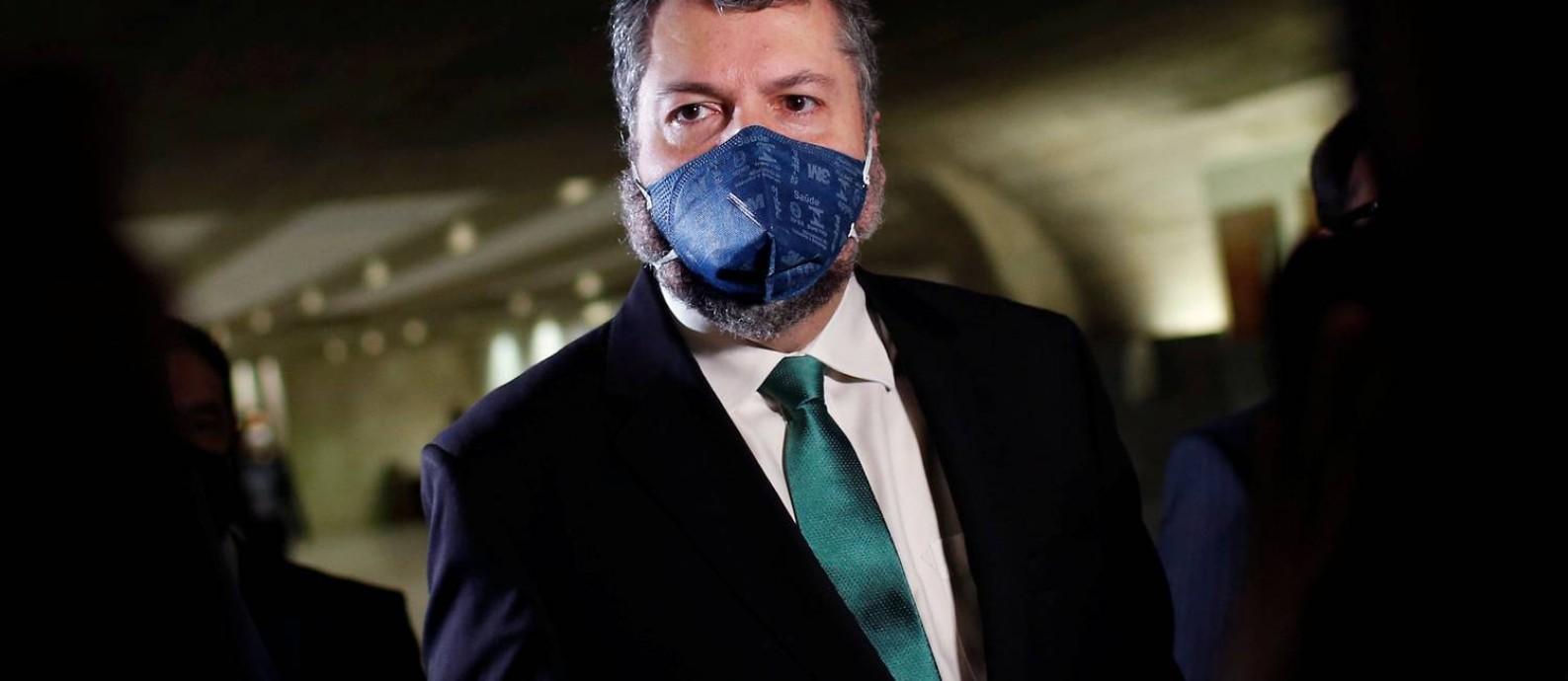 Ex-ministro das Relações Exteriores Ernesto Araújo depõe na CPI da Covid Foto: ADRIANO MACHADO / REUTERS