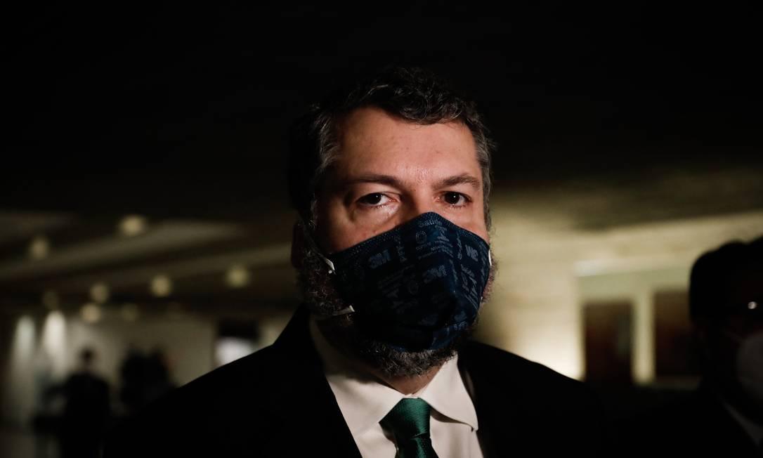 Ex-ministro das Relações Exteriores Ernesto Araújo depõe na CPI da Covid Foto: PABLO JACOB / Agência O Globo