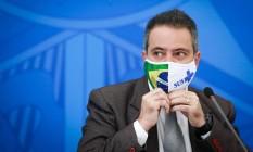 O então secretário-executivo do Ministério da Saúde Elcio Franco, durante entrevista coletiva no Palácio do Planalto Foto: Pablo Jacob/Agência O Globo/27-06-2020
