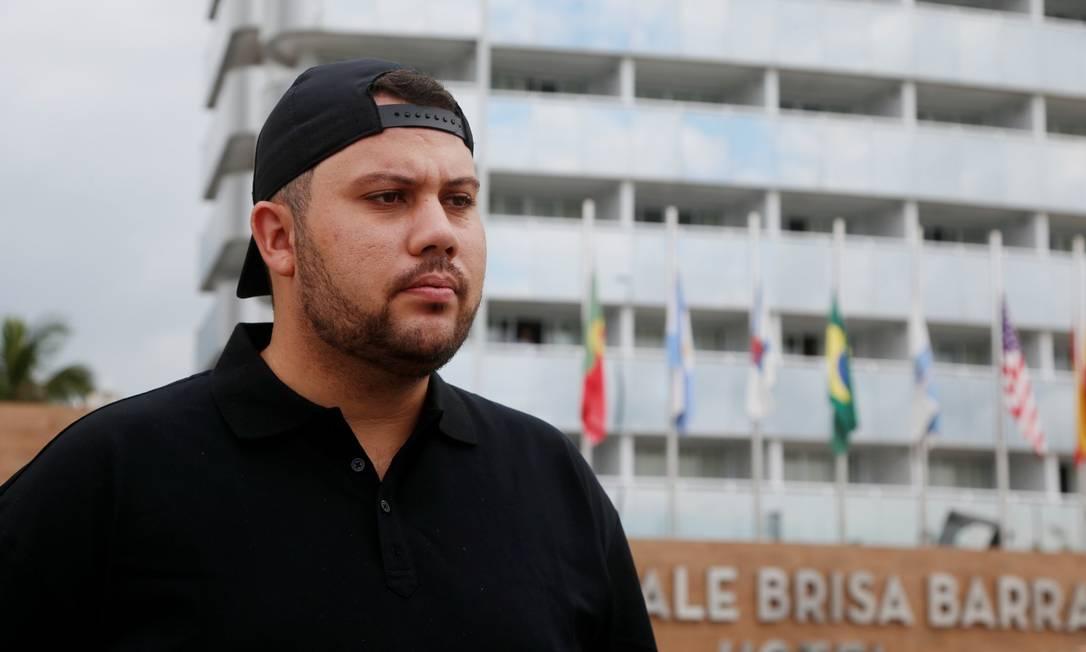 Luiz Henrique Rabêlo Pires, de 31 anos, empresário que estava hospedado no quarto ao lado do local de onde MC Kevin caiu da varanda e morreu, no domingo Foto: Fabiano Rocha / O Globo