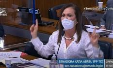 Senadora Kátia Abreu (PP-TO) durante CPI da Covid Foto: Reprodução